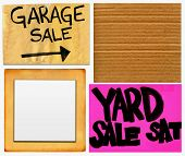 Garage And Yard Sale And Blank Cardboard Signs Set