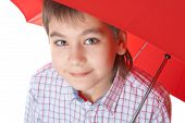 Boy With Re? Umbrella, Over White