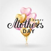 Mother Day Heart Gold Balloons poster