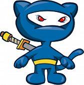 Blue Cat Ninja Vector Illustration