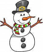 Vacaciones de Navidad muñeco de nieve Vector Illustration