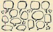 Notebook Doodle Sketch Speech Bubble Vector Illustration Set