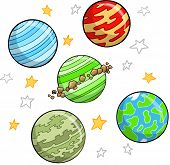 Outer Space Planet and star Set Vector Illustration
