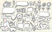 Notebook sketch Doodle Clip art Design Flower Speech Bubbles Elements Vector Illustration Set