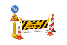 foto of road sign  - Group of road construction warning signs barriers guards with under construction text  - JPG