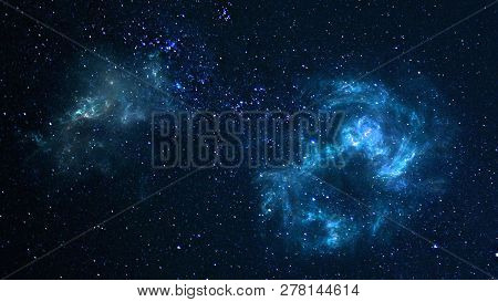 poster of Planets And Galaxy, Cosmos,  Physical Cosmology, Science Fiction Wallpaper. Beauty Of Deep Space. Bi
