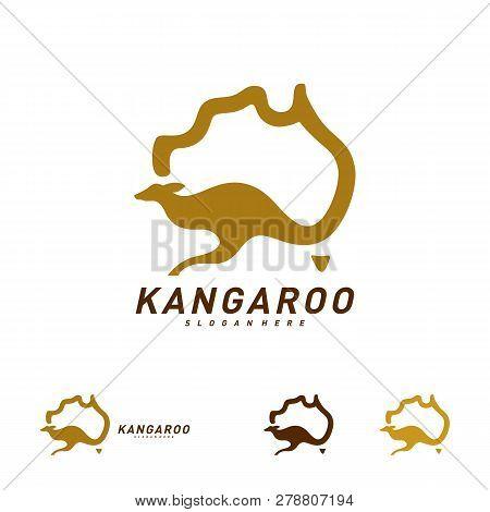 Kangaroo And Australia Map Logo