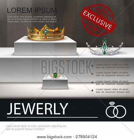 Realistic Jewelry Advertising Template With