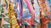 A Closeup View Of A Colorful Fabric With A Traditional Oriental Ornament. Hand-made, Traditional Clo poster