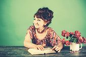 Old Woman Reading Book With Glasses At Flowers. Pension And Retirement, Old Age. Happy Old Lady Or G poster