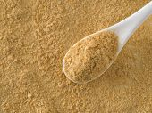 Nutritional Yeast Background. Nutritional Inactive Yeast In White Spoon. Copy Space. Top View. Nutri poster