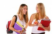 Two blond high school senior girls hanging out, laughing and smiling,holding text books and an apple