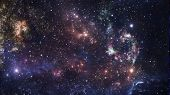 Planets And Galaxy, Cosmos,  Physical Cosmology, Science Fiction Wallpaper. Beauty Of Deep Space. Bi poster