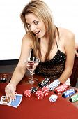 Sexy young woman playing  blackjack in Las Vegas Card backs are a digitally created design