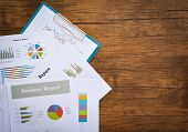 Business Report Chart Preparing Graphs Concept / Summary Report In Statistics Circle Pie Chart On Pa poster