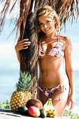 Sexy blond bikini girl on the beach in a pink and brown bikini by Swimbay under a palapus umbrella with tropical fruit on the table