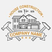 House Construction Company Identity With Suburban American House. Vector Illustration. Thin Line Ico poster