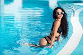 Summer Woman Beauty, Fashion. Beautiful Healthy Woman With Sexy Body In Elegant Bikini, Sun Hat, Sun poster