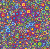 Colorful Psychedelic Circles On A Violet Background. Vector Circle Seamless Pattern On Violet Backgr poster
