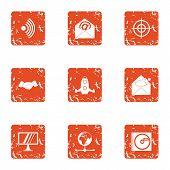 Vital Information Icons Set. Grunge Set Of 9 Vital Information Icons For Web Isolated On White Backg poster