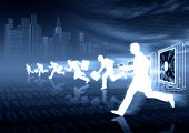 picture of ebusiness  - Businessmen running compete each other in ebusiness virtual world - JPG