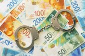 Handcuffs On The Background Of Israeli Money. The New Israeli Money Bills (banknotes) Of 50, 100 And poster