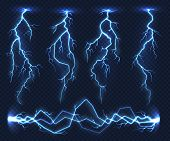 Realistic Lightnings. Electricity Thunder Light Storm Flash Thunderstorm In Cloud. Nature Power Ener poster