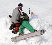 Accident With Athlete Snowboarder At Winter Contest In Mountains Tien Shan