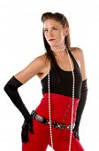 image of mary jane  - Retro pin up fashion model in high waisted red pants a black tank top - JPG