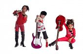 foto of rock star  - Multi ethnic group of young girls playing Girl band dress up - JPG