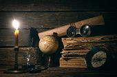 Travel Or Adventure Concept Background. Compass, Binoculars, Globe Map, Stack Of Books, Quill Pen On poster