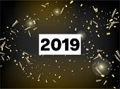 2019 Gold Explosion, Stars, Streamers, Tinsel Burst. Cool Luxury Christmas, New Year, Birthday Party poster