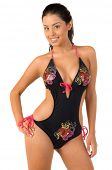 pic of monokini  - Beautiful Mexican bikini model isolated over white - JPG