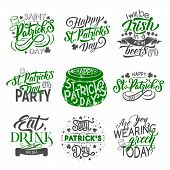 St Patrick Day Badge Set For Irish Holiday Design. Green Clover And Shamrock Leaf With Beer Cup Or M poster
