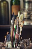Old Paint Brushes In The Artists Studio, Soft Focus poster