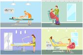 Spa Salon Massage And Body Wrap, Cosmetician And Barber Shop, Pedicure Procedures. Vector Beautician poster