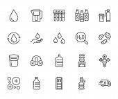 Water Drop Flat Line Icons Set. Aqua Filter, Softener, Ionization, Disinfection, Glass Vector Illust poster