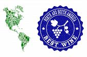 Vector Collage Of Wine Map Of South And North America And Best Grape Wine Grunge Seal Stamp. Map Of  poster