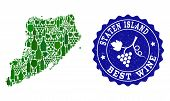 Vector Collage Of Wine Map Of Staten Island And Best Grape Wine Grunge Seal. Map Of Staten Island Co poster