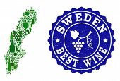 Vector Collage Of Wine Map Of Sweden And Best Grape Wine Grunge Seal. Map Of Sweden Collage Created  poster