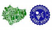 Vector Collage Of Wine Map Of Swietokrzyskie Province And Best Grape Wine Grunge Seal. Map Of Swieto poster