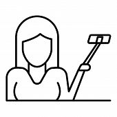 Woman Up Selfie Stick Icon. Outline Woman Up Selfie Stick Vector Icon For Web Design Isolated On Whi poster