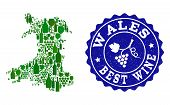 Vector Collage Of Wine Map Of Wales And Best Grape Wine Grunge Seal. Map Of Wales Collage Created Wi poster