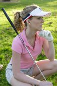 Lady Golfer Waiting To Tee Off poster