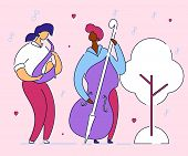 Modern Cartoon Flat Character Musical Band Double Bass Bassist And Saxophone Player, Vector Hand Dra poster