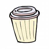 quirky drawing of a takeout coffee cup
