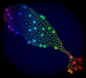 Bright Mesh Vector Map Of St Kitts Island With Glare Effect. Light Spots Have Bright Spectrum Colors poster