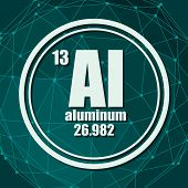 Aluminum Chemical Element. Sign With Atomic Number And Atomic Weight. Chemical Element Of Periodic T poster