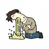 vomiting man cartoon