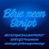 Neon Script Alphabet Font. Blue Color Lowercase And Uppercase Bright Letters And Numbers. Stock Vect poster